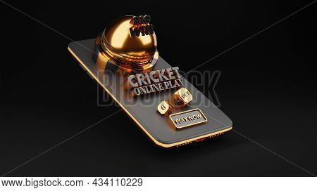 3D Rendering Of Cricket Online Play Through Smartphone in Black And Golden Color.