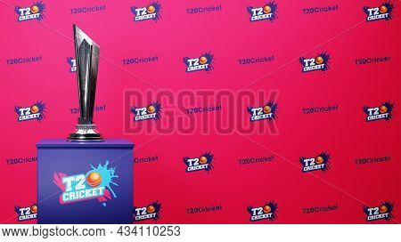 T20 Cricket Font Pattern Background With 3D Silver Trophy Cup On Podium Illustration.