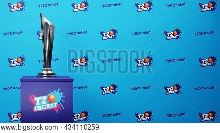T20 Cricket Font Pattern Blue Background With 3D Silver Trophy Cup On Podium Illustration.