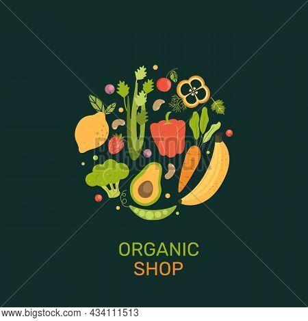 Organic Shop Banner With Cartoon Vegetables, Berries, Fruits. Natural Products-banana, Lemon, Cabbag