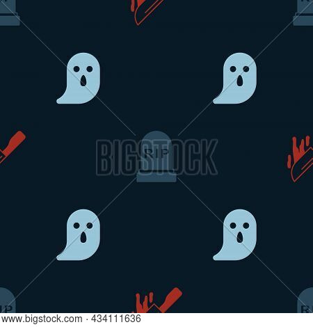 Set Bloody Knife, Tombstone With Rip Written And Ghost On Seamless Pattern. Vector