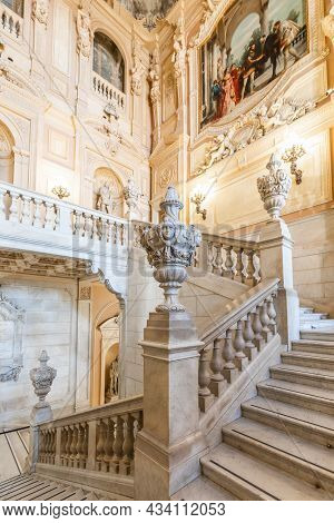 Turin, Italy - Circa August 2021: Marble Staircase In Historic Palace With Luxury Interior - Savoia