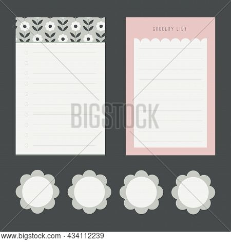 An Adorable Collection Of Memo Pad Design With Flower Stickers Designs.
