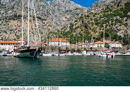 Kotor, Montenegro - 30 June, 2019: View Of Yachts In The Bay Of Kotor, Montenegro