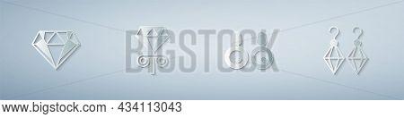 Set Diamond, Stud Earrings, Earrings And . Paper Art Style. Vector