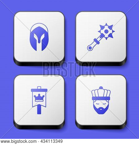 Set Medieval Helmet, Mace With Spikes, Flag And King Crown Icon. White Square Button. Vector
