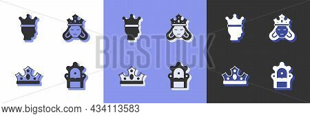Set Medieval Throne, King Crown, And Princess Or Queen Icon. Vector