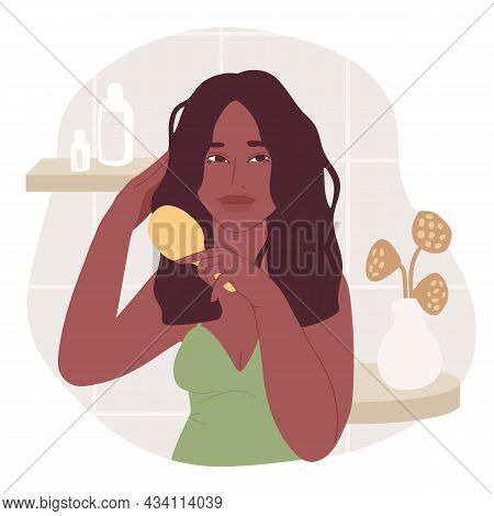 Illustration With African American Young Women, Who Combs Her Hair. Haircare Routine Set. Flat Carto