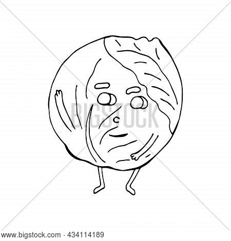 Funny Cartoon Cabbage Character. Vegetables And Fruits. Vector Illustration. Isolated. Doodles. Comi