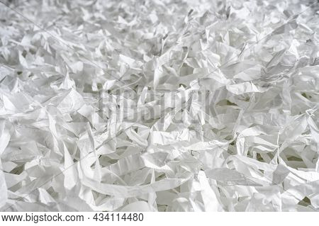 Paper Strips Like Confetti For Party Or Box Filler For Shipping Fragile Items. Many Pieces Of Cut Wh