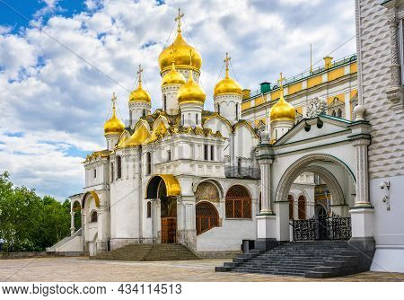 Annunciation Cathedral At Moscow Kremlin, Russia. Old Russian Orthodox Church, Tourist Attraction Of