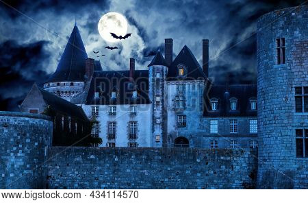 Haunted Gothic Castle At Night, Old Spooky House In Full Moon. Dark Creepy Mystic Castle With Bats,
