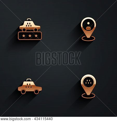 Set Taxi Service Rating, Client, Car And Location Taxi Icon With Long Shadow. Vector