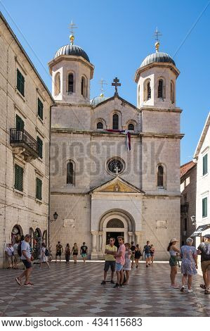 Kotor, Montenegro - 30 June, 2019: The Church Of Saint Nicholas Is A Serbian Orthodox Church In The