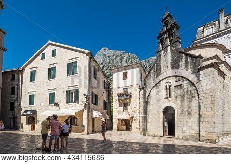 Kotor, Montenegro - 30 June, 2019: The Church Of Sveti Luka (saint Luke) In Kotor On The Square Piaz