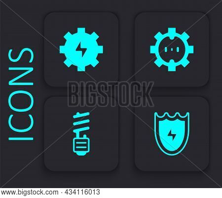 Set Lightning And Shield, Gear Lightning, Electrical Outlet And Led Bulb Icon. Black Square Button.