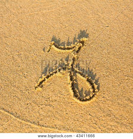 Zodiac sign Capricorn, drawn on the facture beach sand. (zodiac signs series)