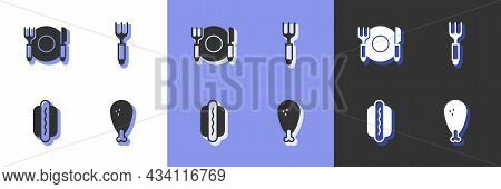 Set Chicken Leg, Plate, Fork And Knife, Hotdog And Fork Icon. Vector