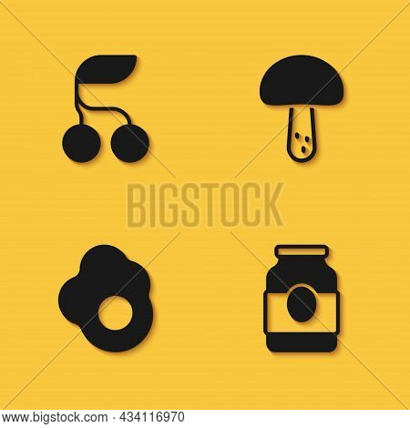 Set Fresh Berries, Jam Jar, Scrambled Egg And Mushroom Icon With Long Shadow. Vector