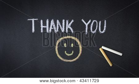 Thank you chalk drawing with smiling face. poster