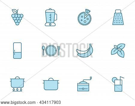 Kitchen Line Vector Icons In Two Colors Isolated On White Background. Kitchen Blue Outline Icon Set