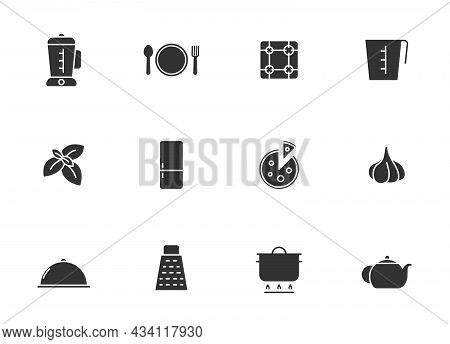 Kitchen Silhouette Vector Icons Isolated On White. Kitchen Icon Set For Web, Mobile Apps, Ui Design