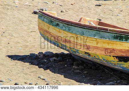 Old Abandoned Boat On The Beach In Cabo De Gata, Almeria, Spain