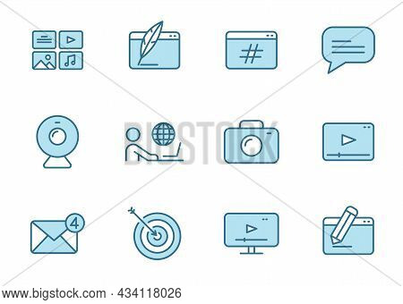 Blog Outline Vector Icons In Two Colors Isolated On White Background. Blogger Blue Icon Set For Web