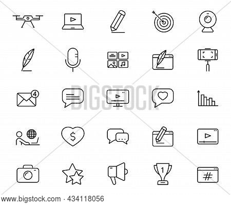 Blog Outline Vector Icons Isolated On White Background. Blogger Icon Set For Web And Ui Design, Mobi