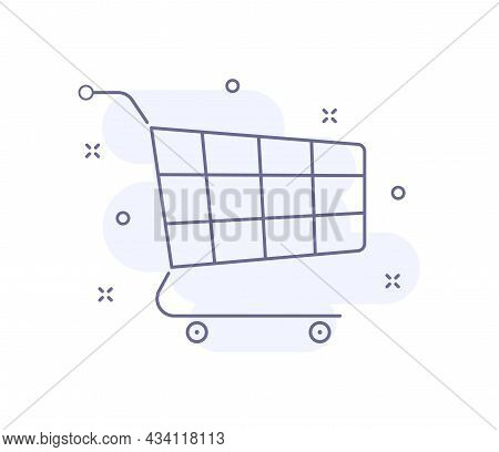 Shopping Cart Outline Vector Illustration Isolated On White. Cart Purple Line Icon With Light Pink B