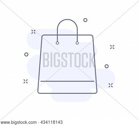 Shopping Bag Outline Vector Illustration Isolated On White. Shopping Bag Purple Line Icon With Light