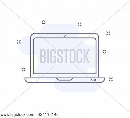 Laptop Outline Vector Illustration Isolated On White. Laptop Purple Line Icon With Light Pink Backgr