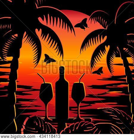 Romantic Dinner On A Tropical Beach.wine Bottle, Glasses, Palms And Butterflies On A Sunset Backgrou