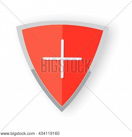 Medical Health Protection Shield Cross. Protected Steel Guard Shield Concept. Safety Badge Steel Ico
