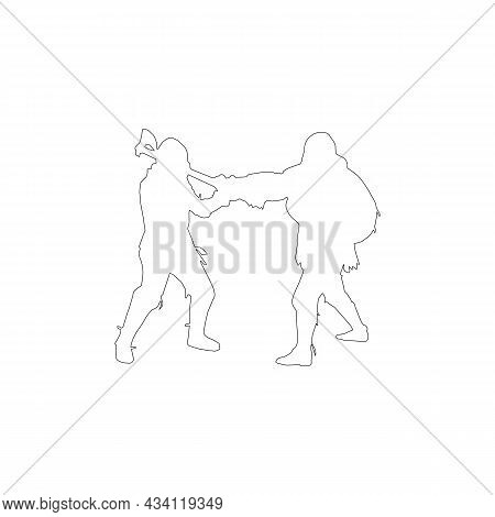 Silhouette Of Fighting Knights Black Line Icon On White. Trendy Flat Isolated Outline Symbol, Sign C