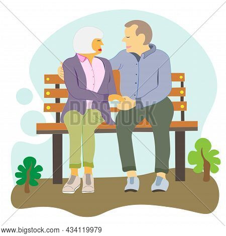 Elderly People Are Sitting On Bench. Grandma And Grandpa Spend Time Together, Talking In The Fresh A