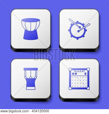 Set African Darbuka Drum, Drum With Sticks, Percussion And Guitar Amplifier Icon. White Square Butto