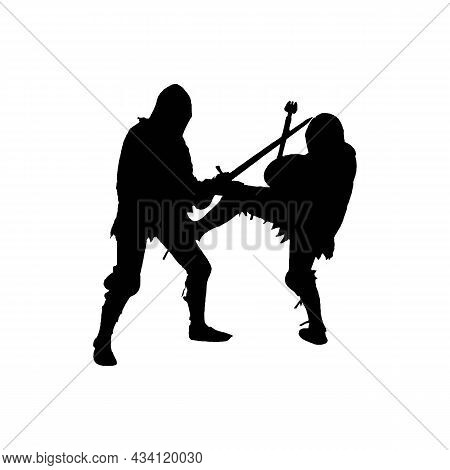 Silhouette Of Fighting Knights Solid Black Line Icon. Fight, Warrior Concept. Trendy Flat Isolated S