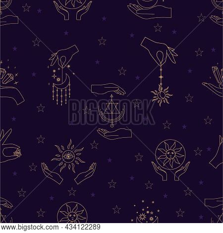 Vector Seamless Pattern With Gold Alchemy And Mystic Signs Eye, Triangles, Palms, Moons, Stars, Astr