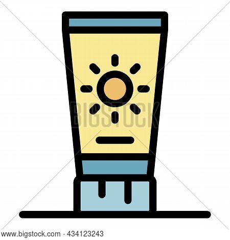 Sunscreen Tube Icon. Outline Sunscreen Tube Vector Icon Color Flat Isolated