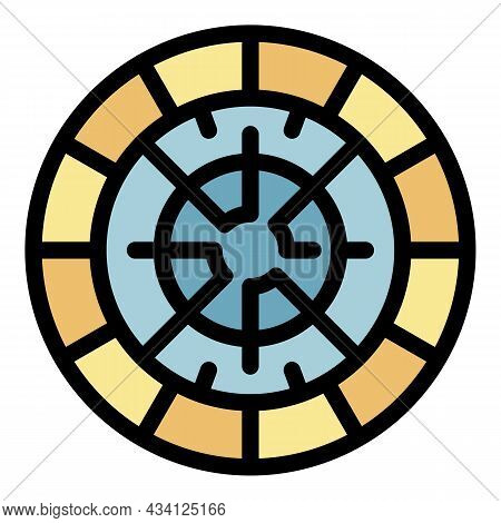 Circle Paving Icon. Outline Circle Paving Vector Icon Color Flat Isolated