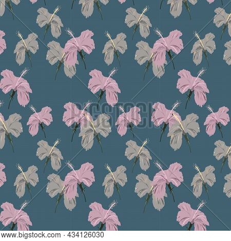 Seamless Pattern Of Hibiscus Flower , Light Pink And Light Gray Color Hibiscus Flower On Robin Egg B