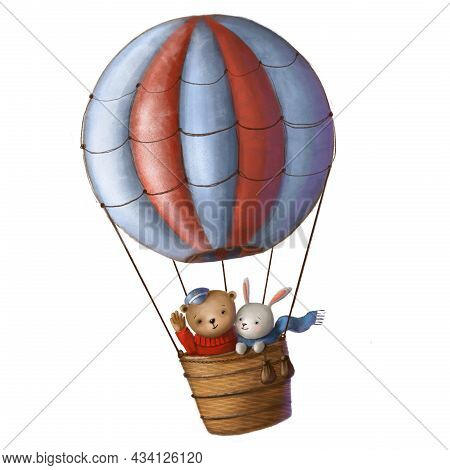 Bear And Hare Flying In Aerostat, Childrens Illustration With Air Balloons, Holiday Clipart