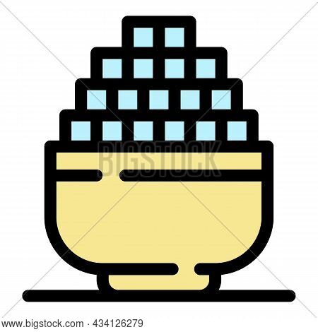 Sugar Cube Bowl Icon. Outline Sugar Cube Bowl Vector Icon Color Flat Isolated