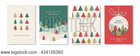 Merry Christmas And New Year Posters Set With Winter Abstract Triangle Fir Trees. Vector Illustratio