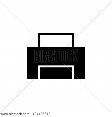 Printer With Paper Sheet Glyph Solid Black Icon. Template Print. Trendy Flat Isolated Outline Symbol