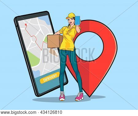 Delivery Woman Employee Carrying Big Box Show Smartphone And Navigator Shopping Online Concept Pop A