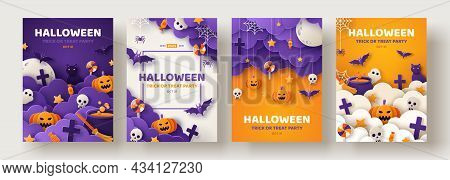 Happy Halloween Party Posters Set With Night Clouds And Pumpkins In Paper Cut Style. Vector Illustra