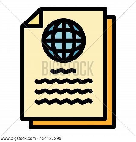 Global Report Icon. Outline Global Report Vector Icon Color Flat Isolated