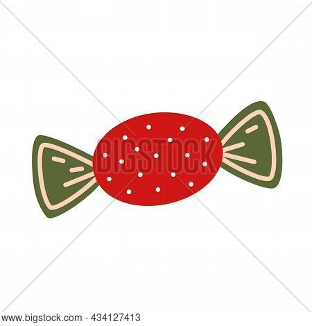 Candy In Red Wrapper With Dots. Vector Decorative Element